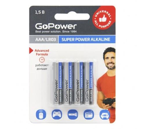 Батарейка GoPower          LR03  Alkaline  (  4BL)(48)(576)