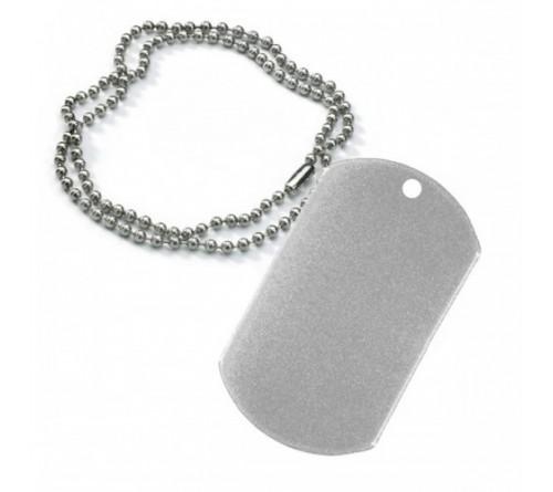 Брелок Армейский жетон с цепочкой серебро