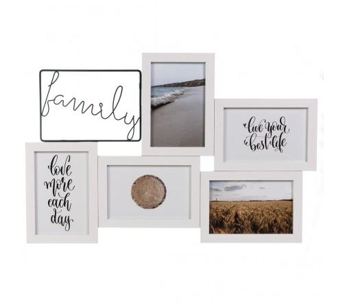 Ф/Рамка Комбинированная на   5 фото   BB-7031  Белый  FAMILY      (8)