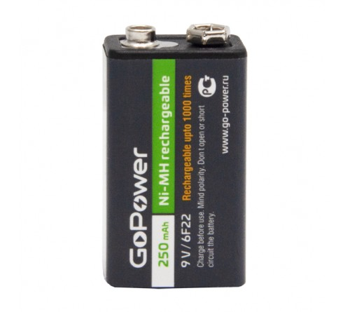 Аккумулятор крона  GoPower 6F22 BL1 NI-MH 9V 250mAh (1/25/100)