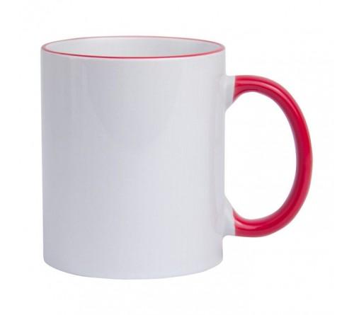 Кружка керамика белая, ободок и ручка Красная стандарт 330мл