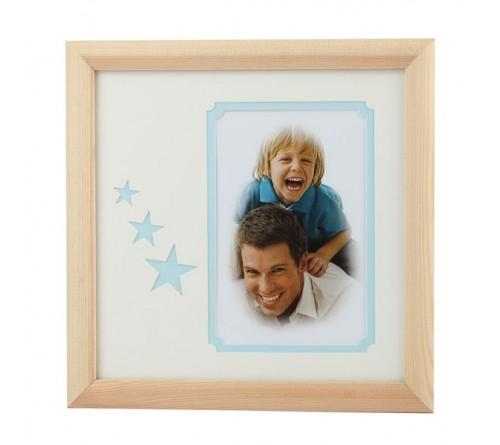 Мультирамка IA  Деревянная на 1 фото Серия  Eco С22, 20x20 Голубые звезды, размер фото- 10x15 художественное паспарту, 2 слоя (16/288)