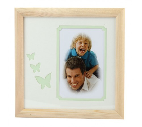 Мультирамка IA  Деревянная на 1 фото Серия  Eco С22, 20x20 Салатовые бабочки, размер фото- 10x15 художественное паспарту, 2 слоя (16/288)