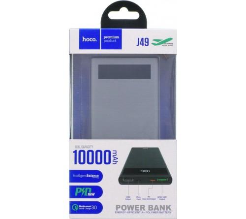 Внешний Аккумулятор Power Bank Hoco J  49                                    10000 mAh 2*USB 3.0A Grey Li-Polymer QC 3.0 Fast Charger