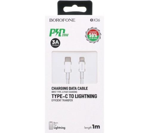 Кабель  Type C - Lighting iPhone Borofone BX 36 1.0 m,3.0A, White,коробочка PD 18W