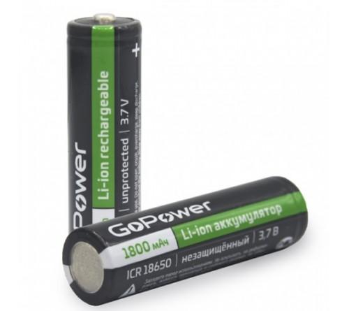 Аккумулятор   Li-ion GoPower 18650 PC1 3.6V 1800mAh без защиты с высоким контактом (1/80/160