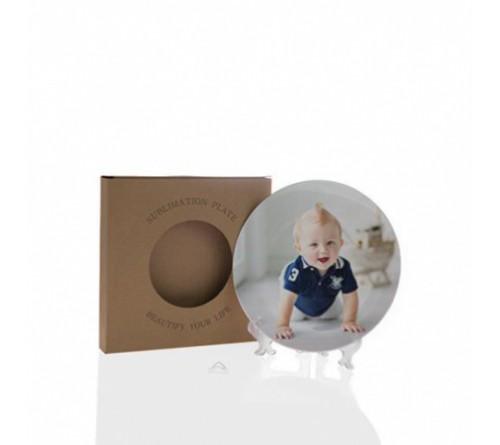 Тарелка 3D сублимационная белая 180 мм в упаковке+подставка