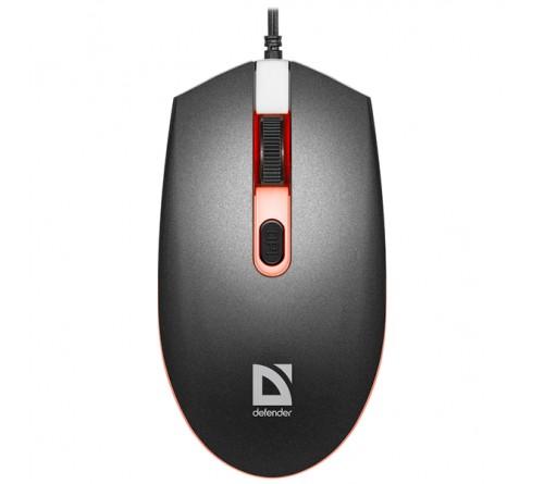 Мышь DEFENDER    986 Dot             (USB, 1600dpi,Optical) Black 7 цветов подсветки Блистер