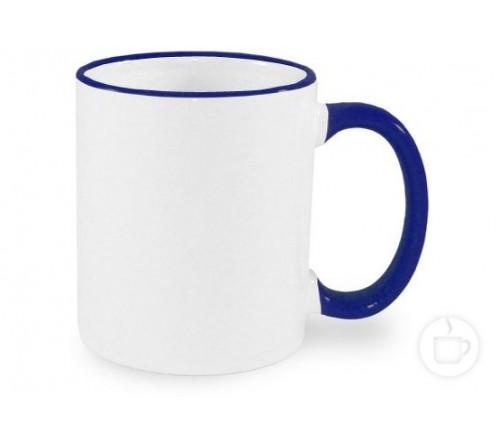 Кружка керамика белая, ободок и ручка Синие стандарт 330мл