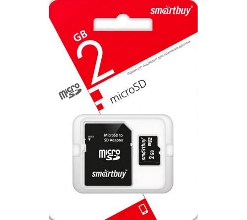 Карта памяти  MicroSD            2Gb  SmartBuy +  Адаптер SD