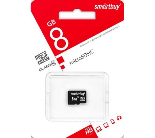Карта памяти  MicroSDHC       8Gb (Class    4)  SmartBuy  без Адаптера