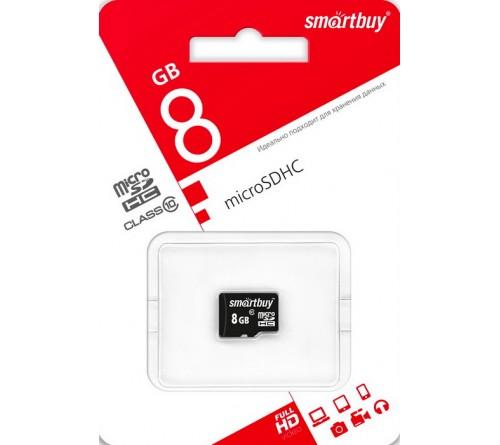 Карта памяти  MicroSDHC       8Gb (Class  10)  SmartBuy  без Адаптера