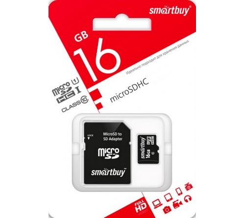 Карта памяти  MicroSDHC     16Gb (Class  10)  SmartBuy +  Адаптер SD