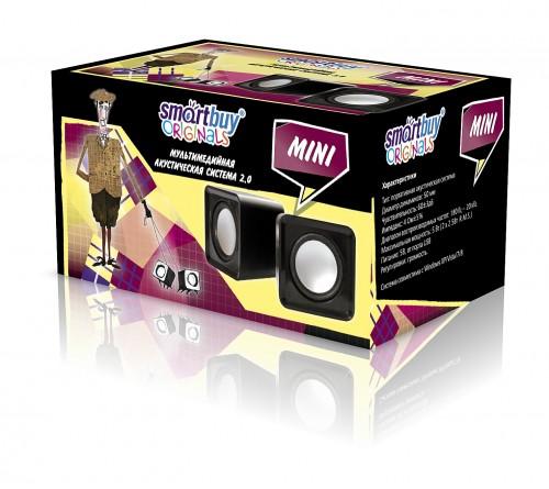 Колонки Smart Buy (SBA 2800)                2.0 (2*   2W)  Mini BlackПластик,питание от USB